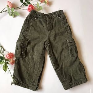 Baby Gap corduroy green warm infant snapped  pants